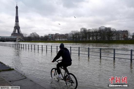 Banks of Seine river flooded due to continuous rainfalls in Paris